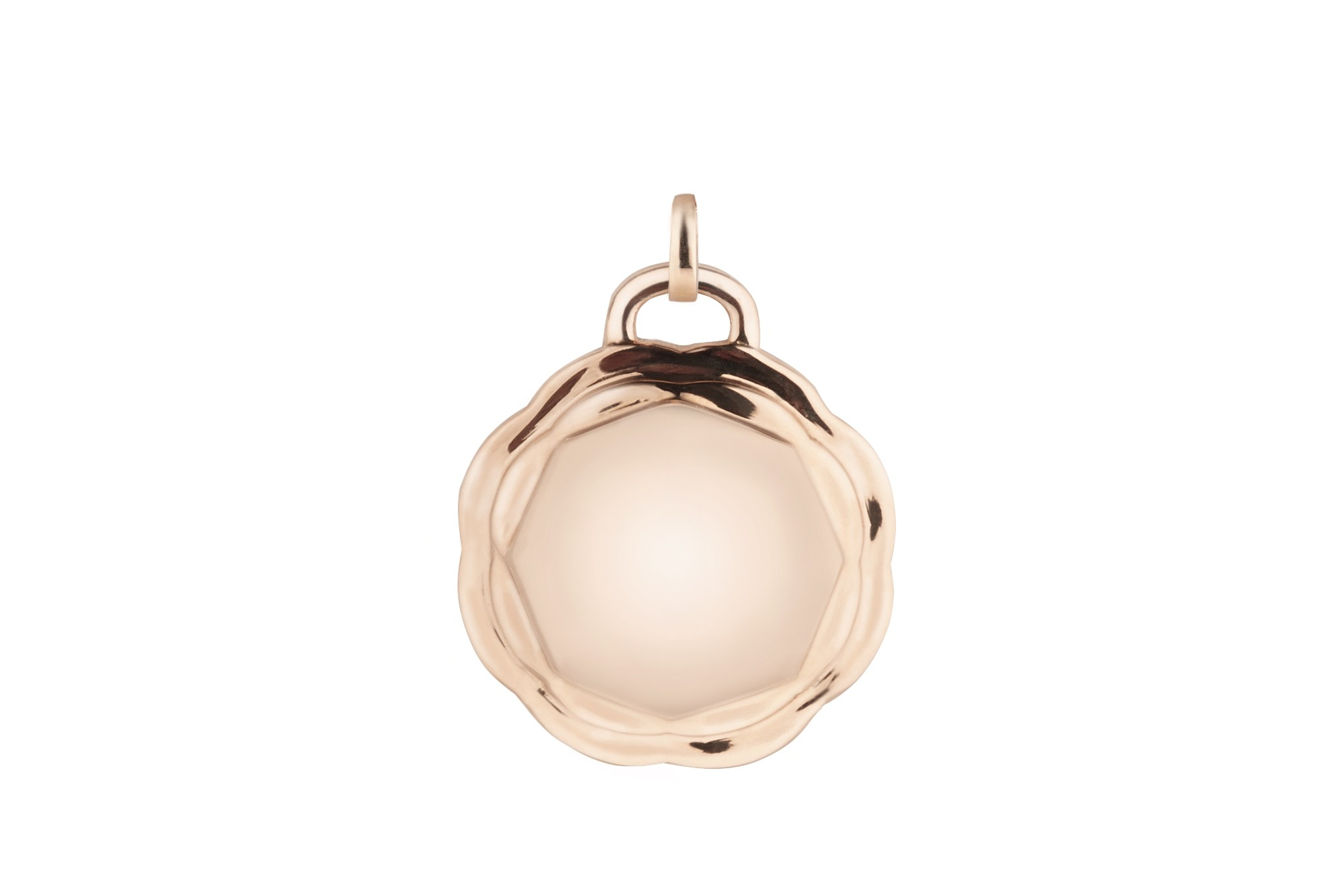 18K Rose Gold Flora Double Circle Charm w/Removable Bail