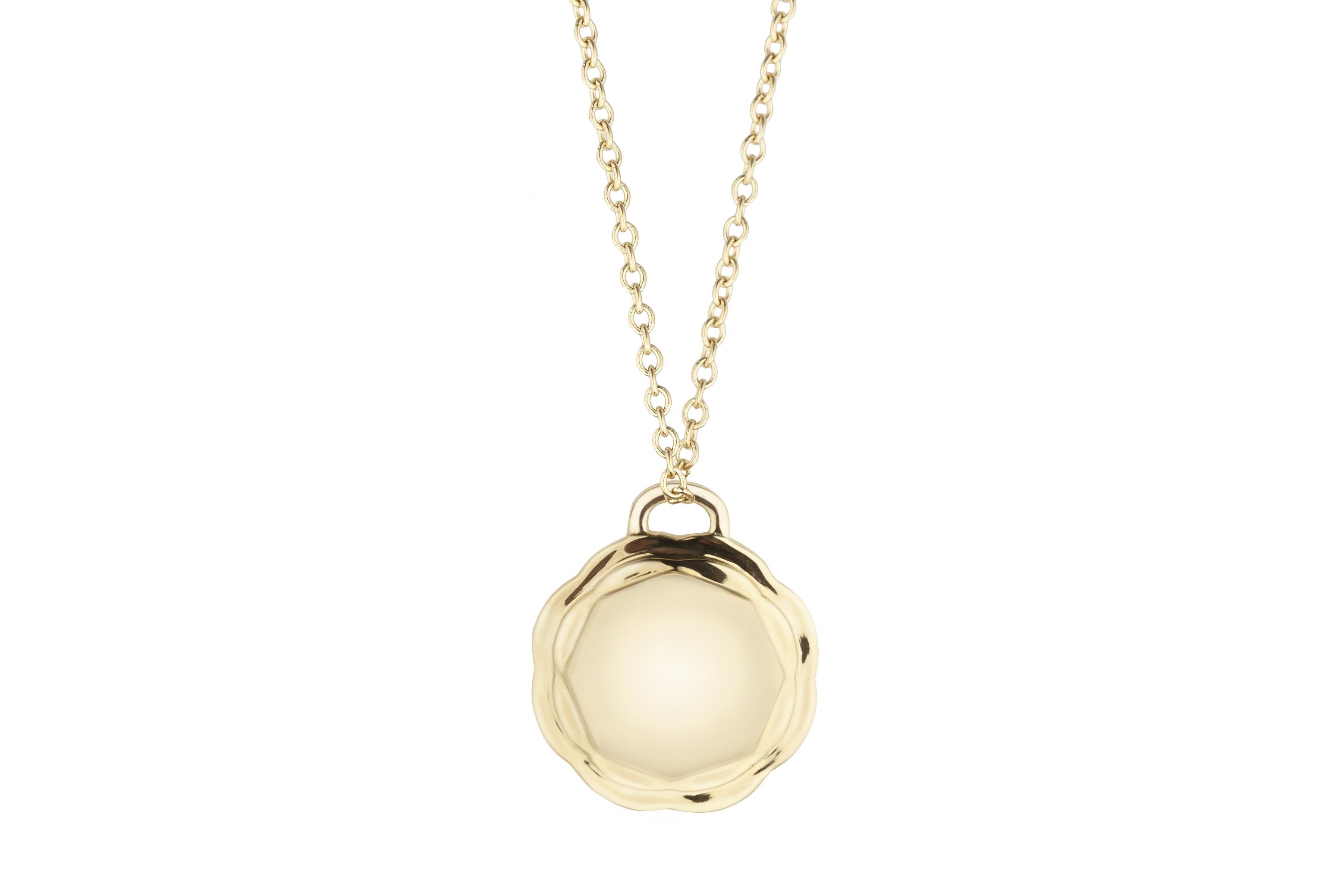 18K Yellow Gold Flora Double Circle Pendant on AIDIA Extendable Link Chain