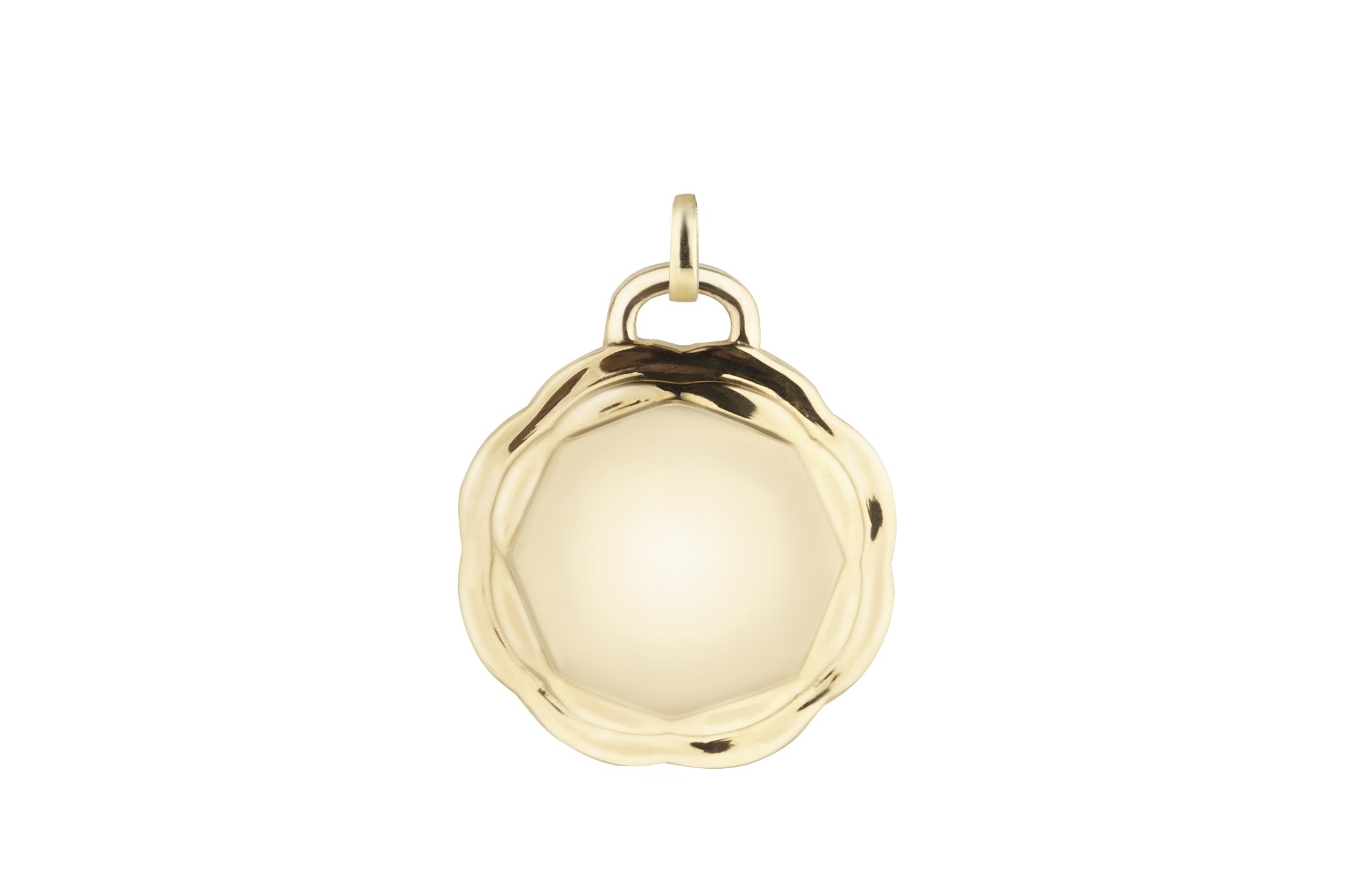 18K Yellow Gold Flora Double Circle Charm w/Removable Bail