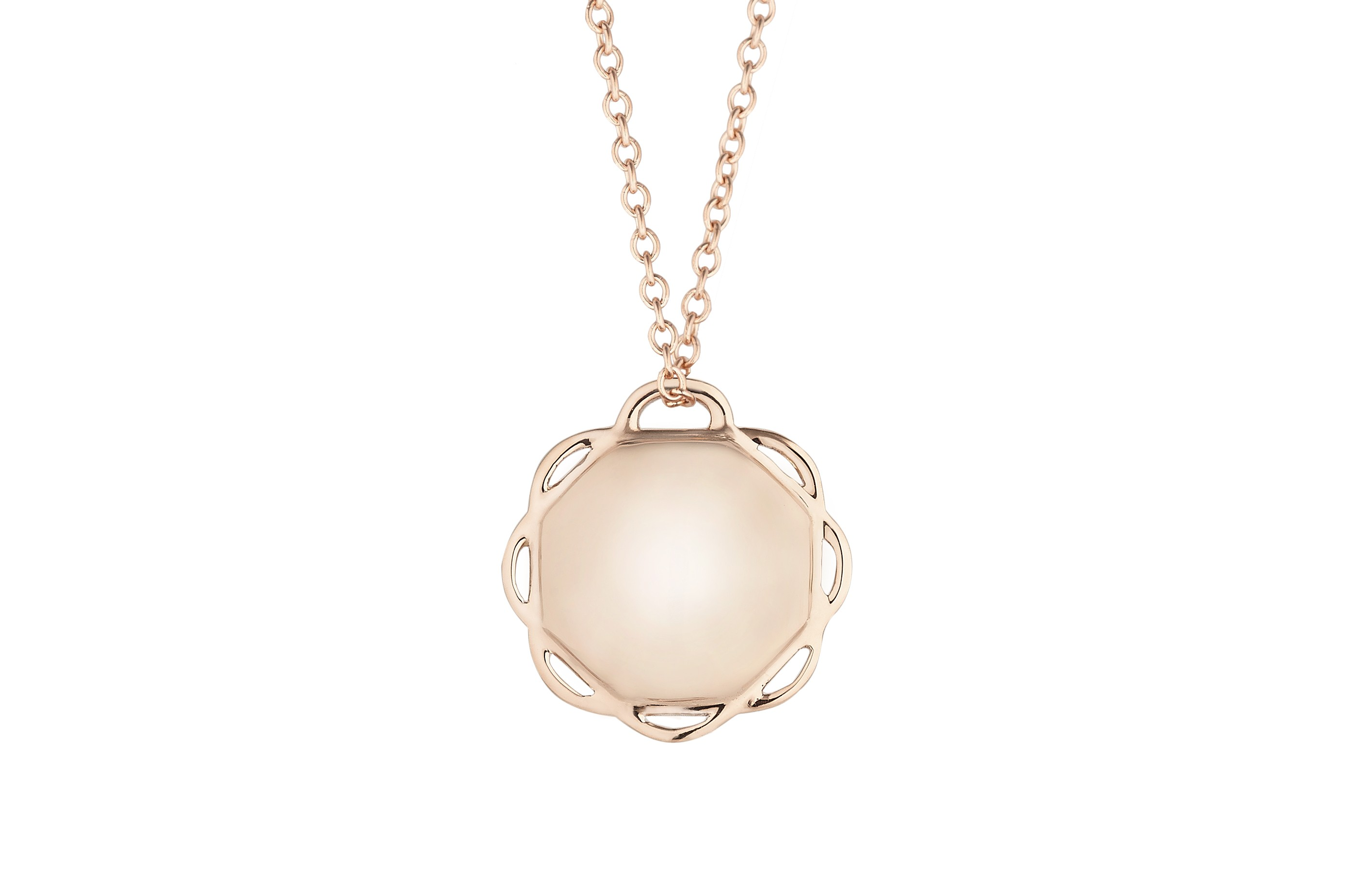 18K Rose Gold Single Circle Flora Pendant on AIDIA Extendable Link Chain