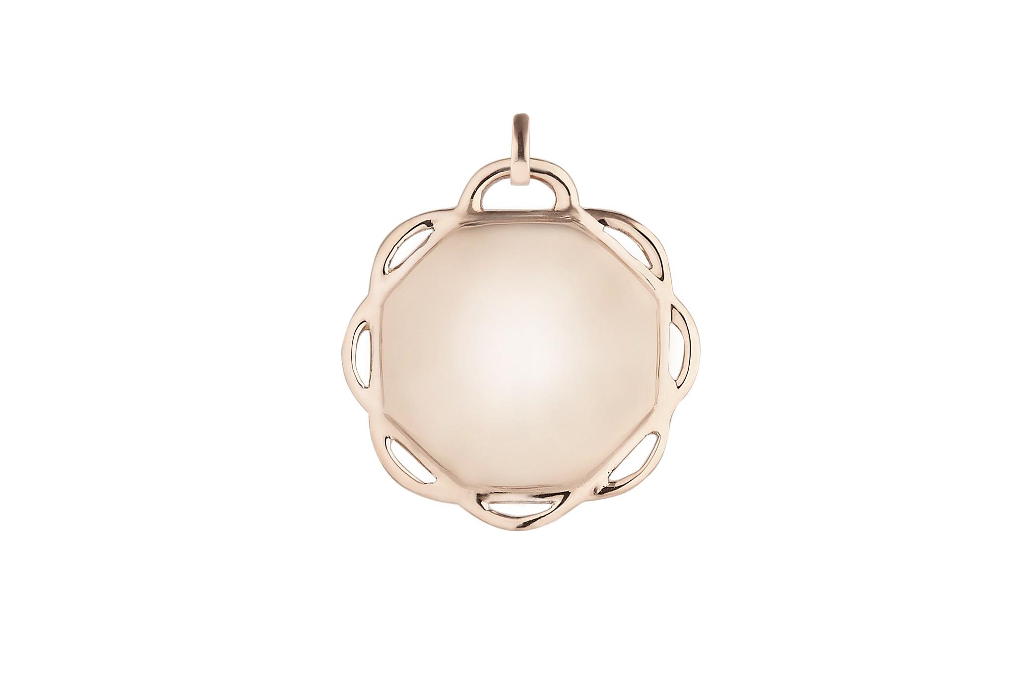 18K Rose Gold Single Circle Flora Charm w/Removable Bail