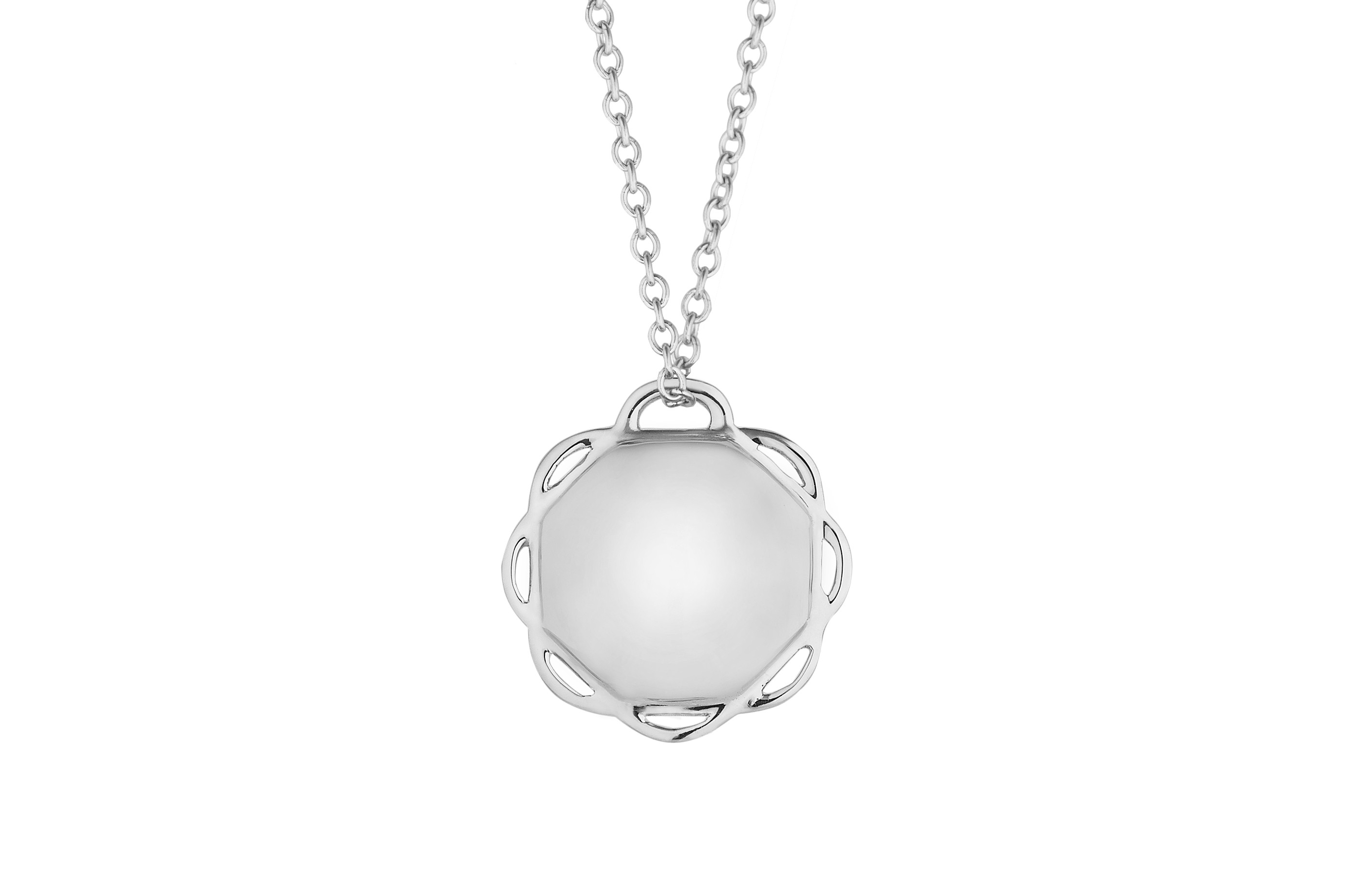 18K White Gold Single Circle Flora Pendant on AIDIA Extendable Link Chain