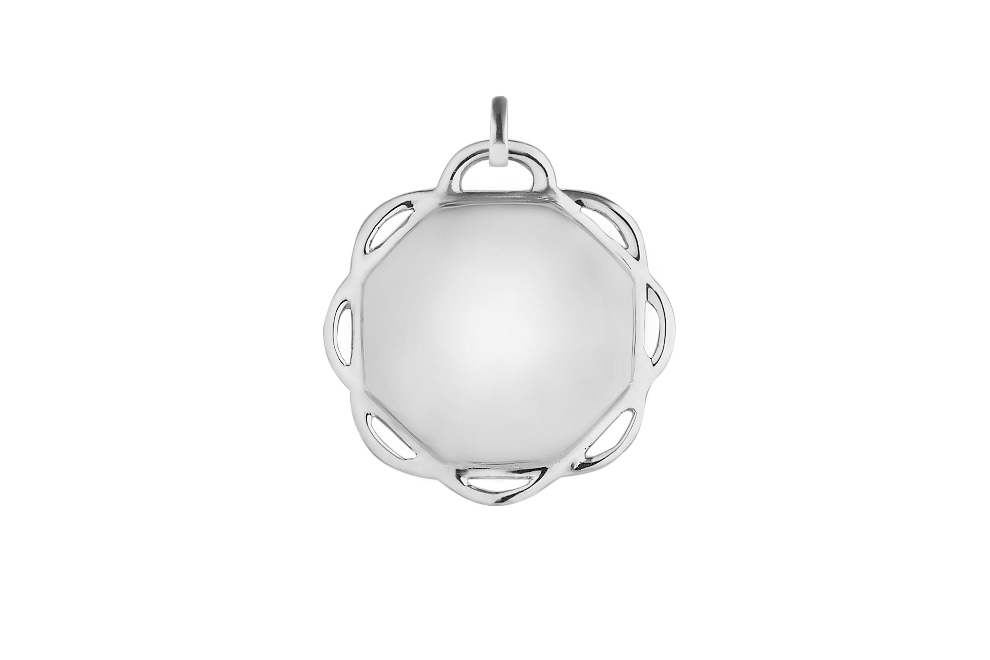 18K White Gold Single Circle Flora Charm w/Removable Bail
