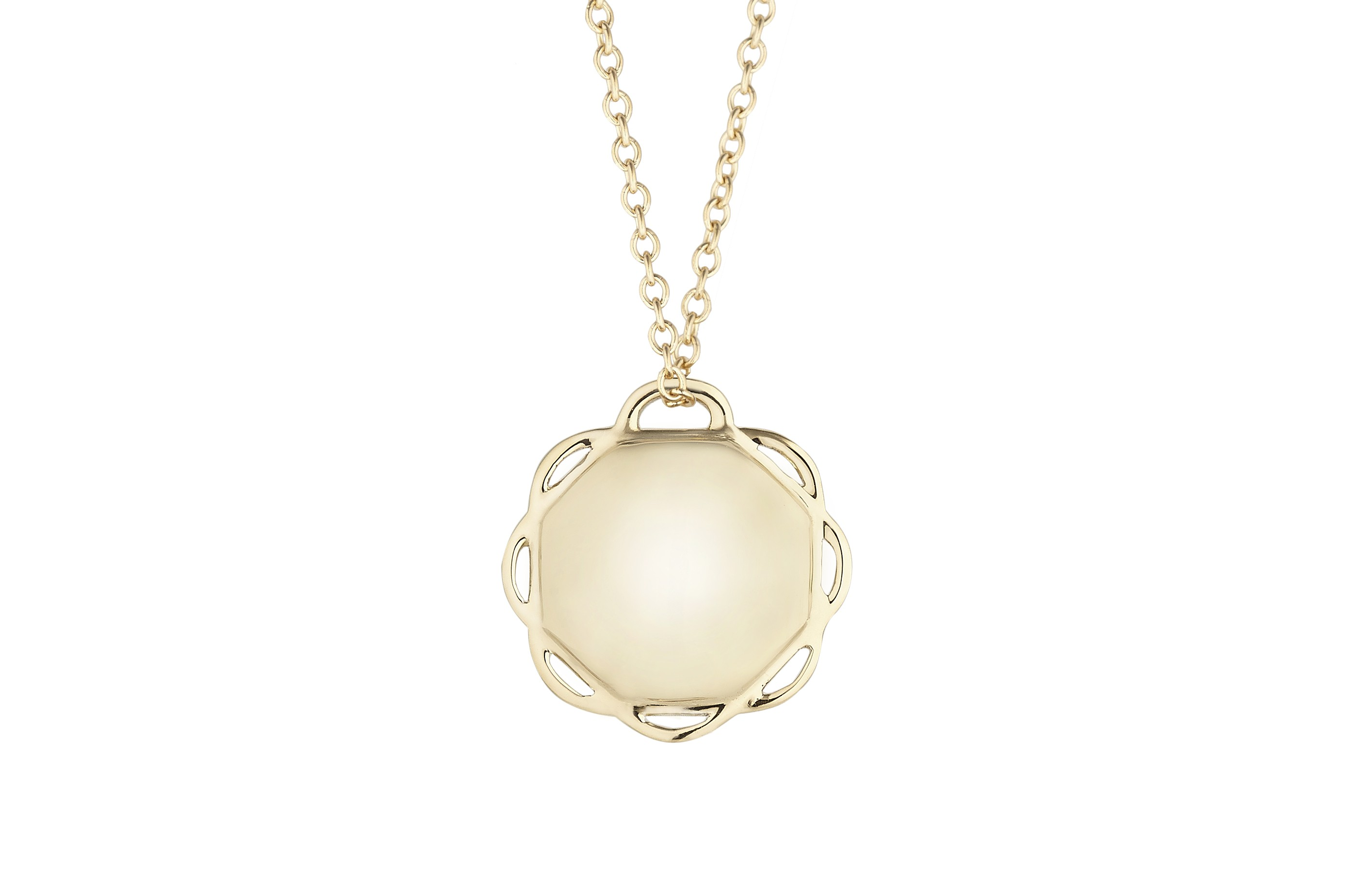 18K Yellow Gold Single Circle Flora Pendant on AIDIA Extendable Link Chain