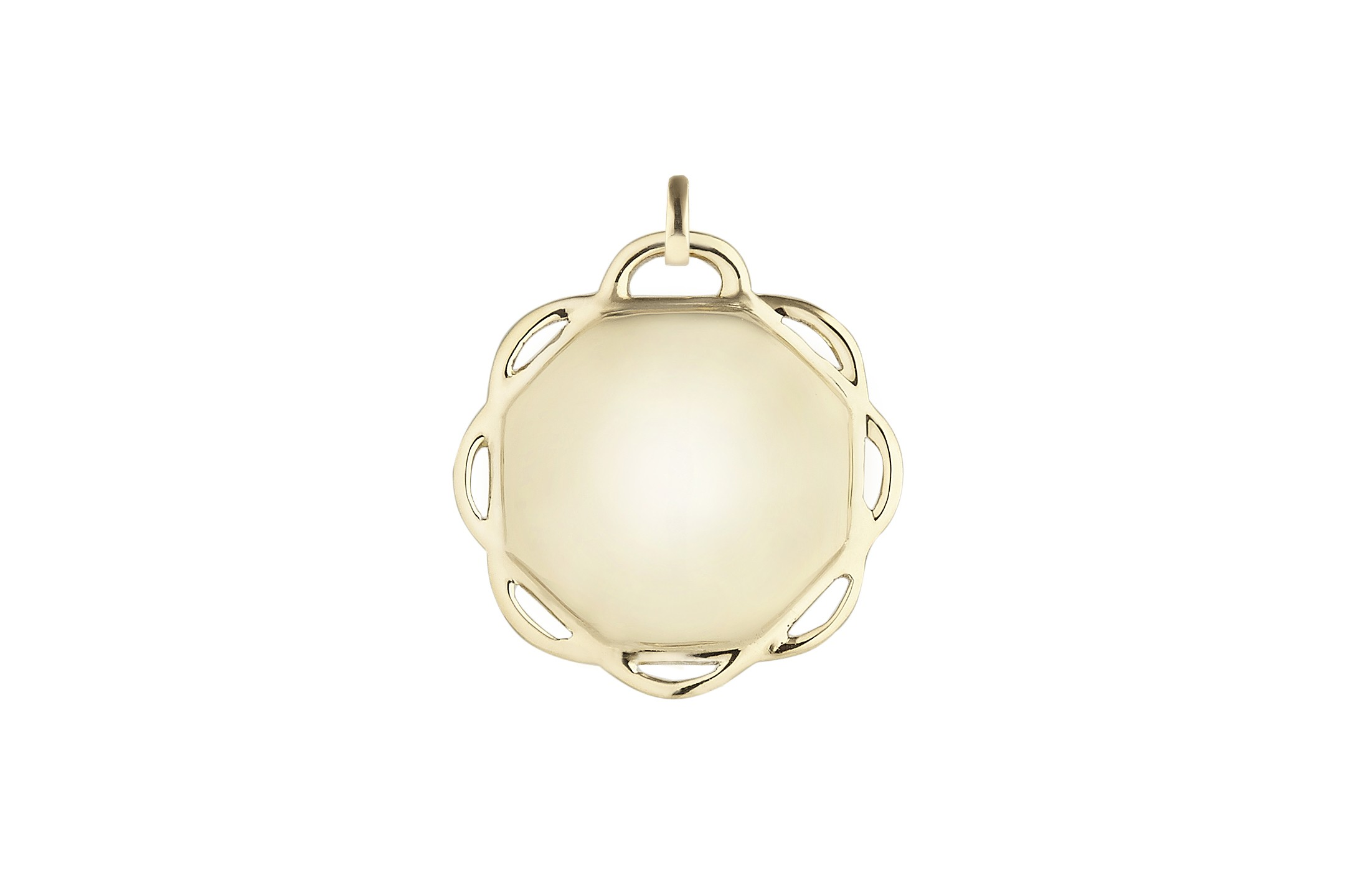 18K Yellow Gold Single Circle Flora Charm w/Removable Bail