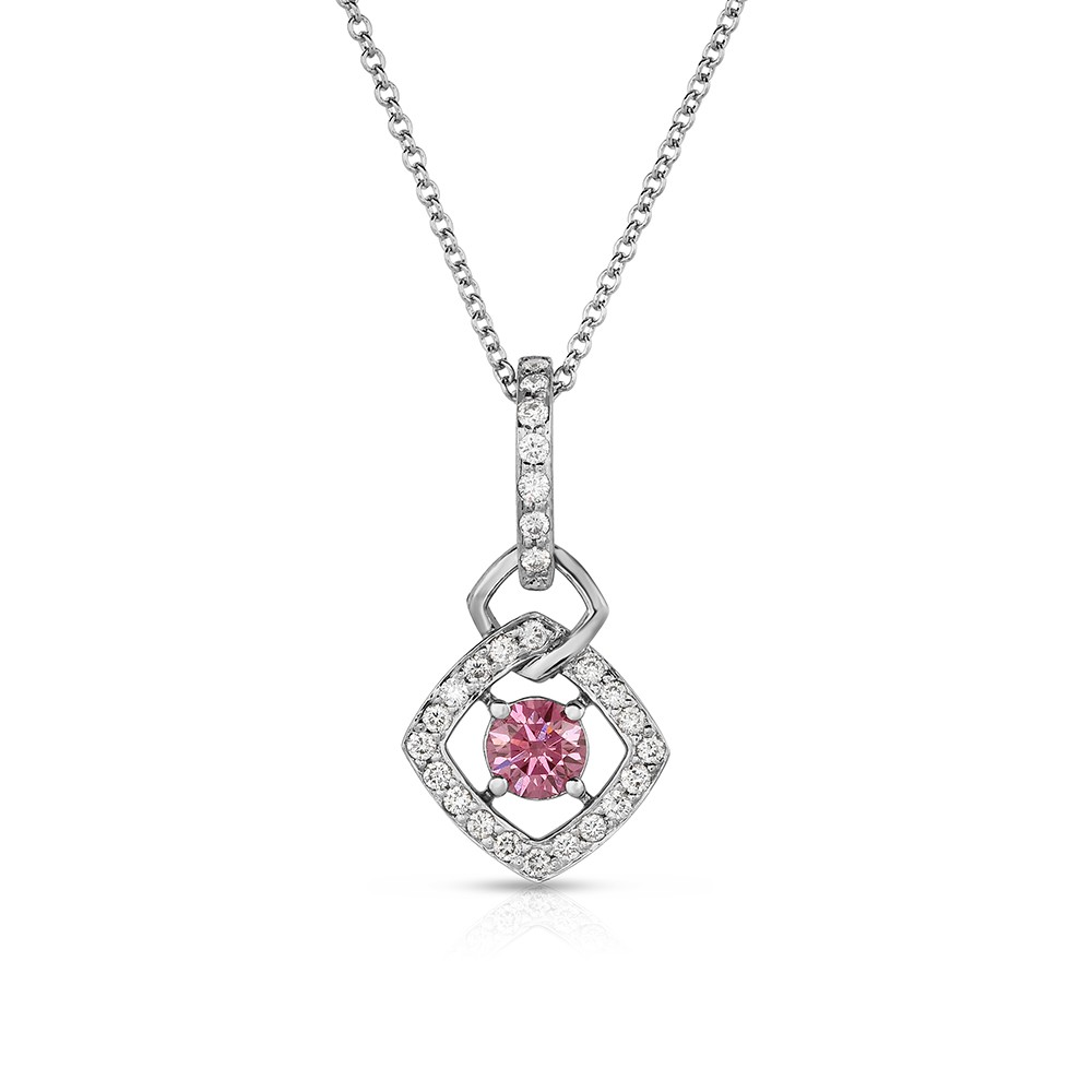 18K White Gold Link Pendant with a 0.33ct Fancy Intense Pink Lab-Grown Diamond