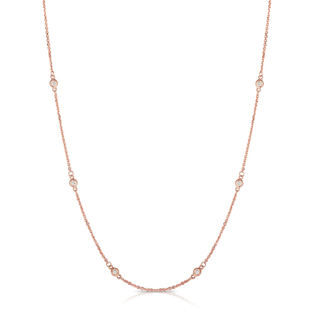 "18"" Rose Gold Station Necklace with 12 Lab Created Diamonds (0.75ct)"
