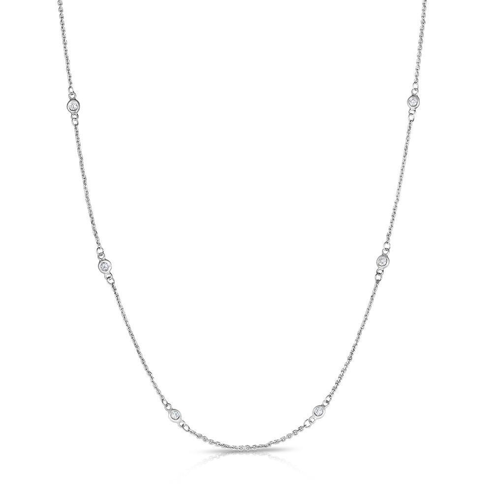 "18"" White Gold Station Necklace with 12 Lab Created Diamonds (1.30ct)"