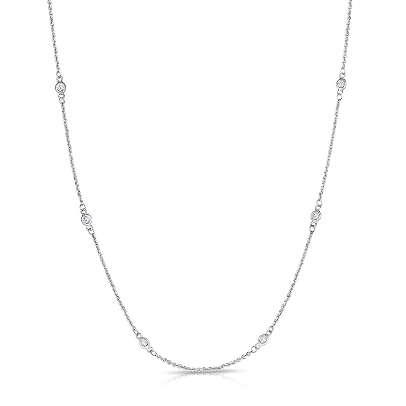 "36"" White Gold Station Necklace with 24 Lab Created Diamonds (0.80ct)"