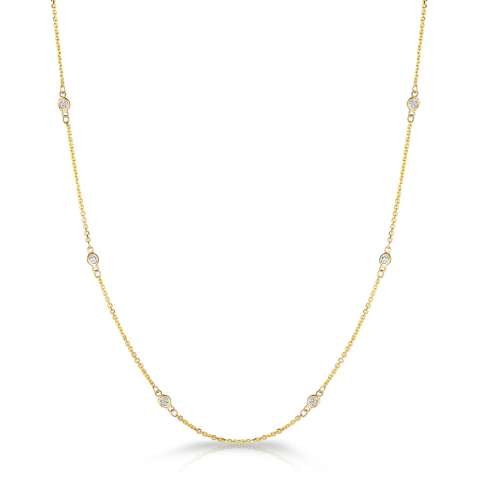 "18"" Yellow Gold Station Necklace with 12 Lab Created Diamonds (0.30ct)"