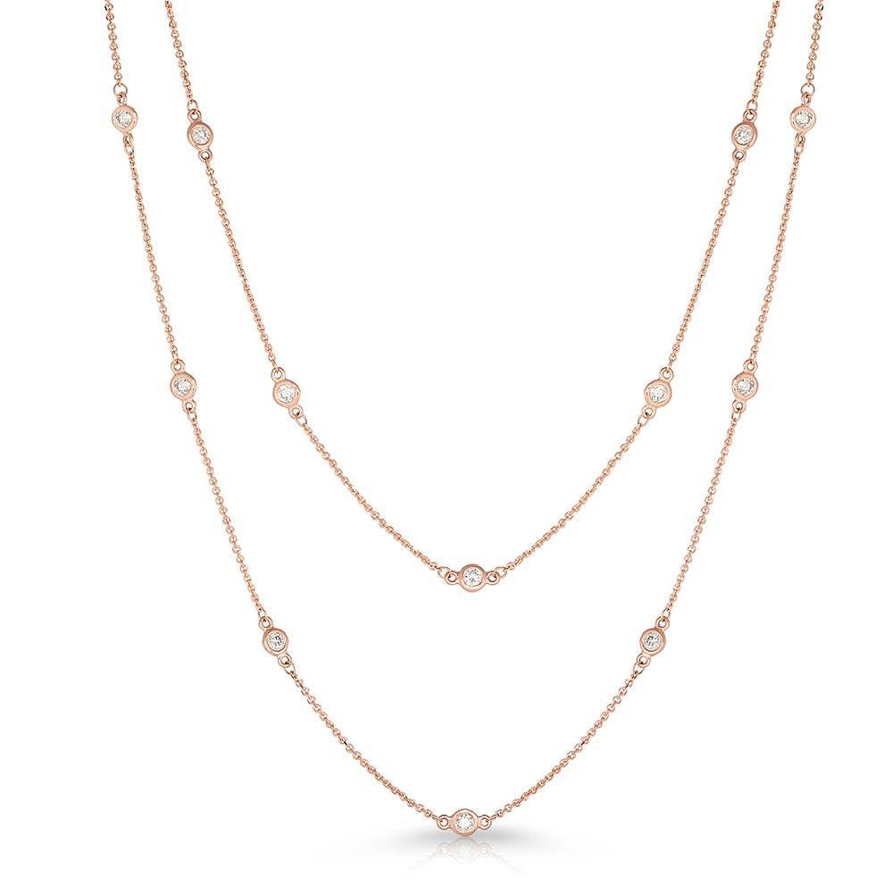 "36"" Rose Gold Station Necklace with 24 Lab Created Diamonds (1.10ct)"