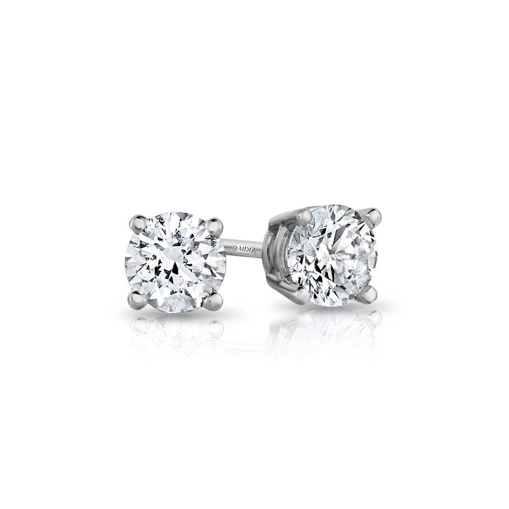 14K White Gold Round Lab Created Diamond Studs (0.25ct)