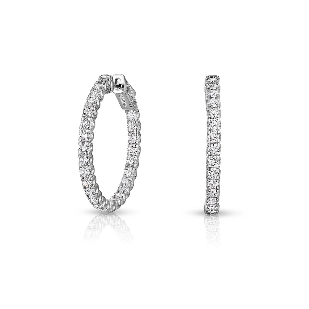 14K White Gold Inside Out, Lab Created Diamond Hoop Earrings (1.50ct)