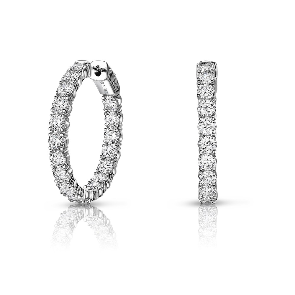 14K White Gold Inside Out, Lab Created Diamond Hoop Earrings (3.00ct) Hoop Size 1.25""