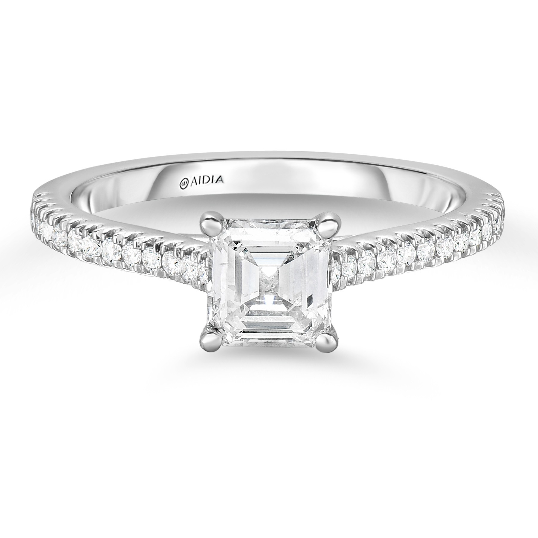 14K White Gold Classic Engagement Ring with a 0.70ct G, SI2 Asscher Cut Lab Created Diamond