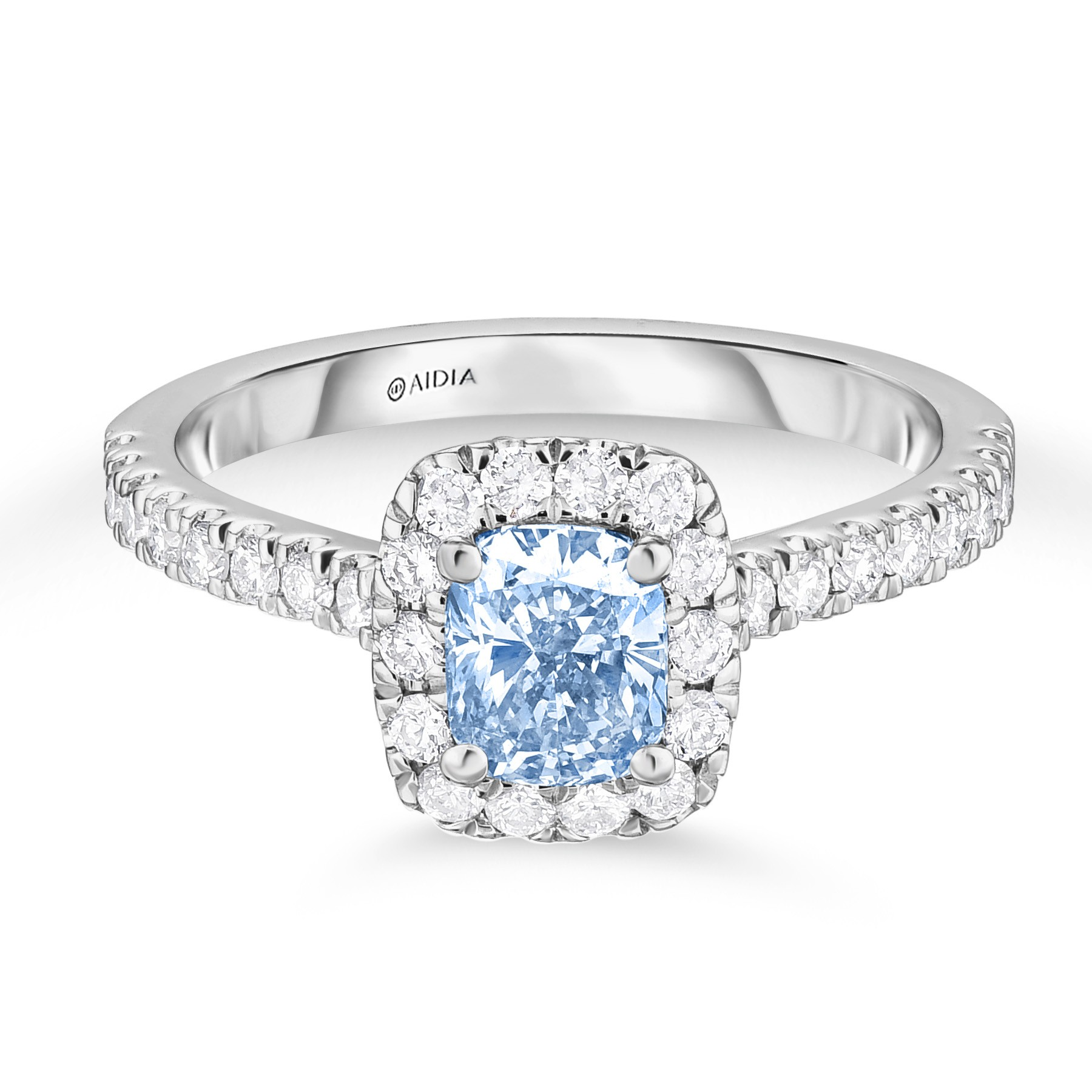 Surprise Diamond Halo Engagement Ring with a 0.77ct Fancy Light Blue, VS2 Cushion Cut Lab-Grown Diamond