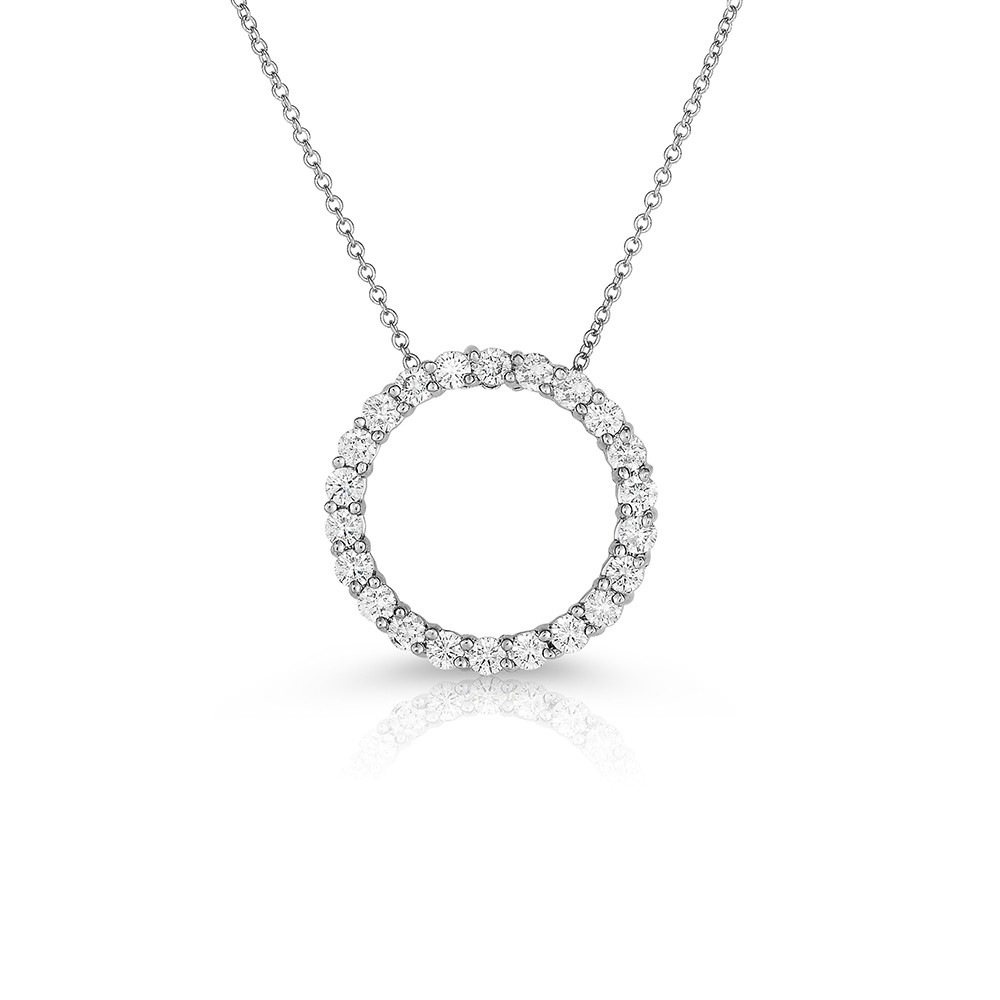 14K White Gold Lab Created Diamond Circle Pendant (1.00ct)
