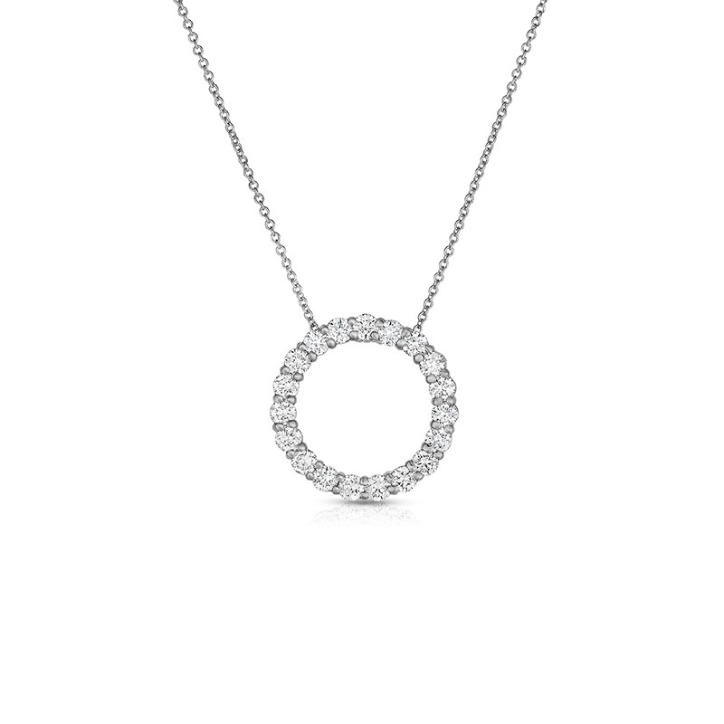 14K White Gold Lab Created Diamond Circle Pendant, on AIDIA Extendable Link Chain (1.00ct)