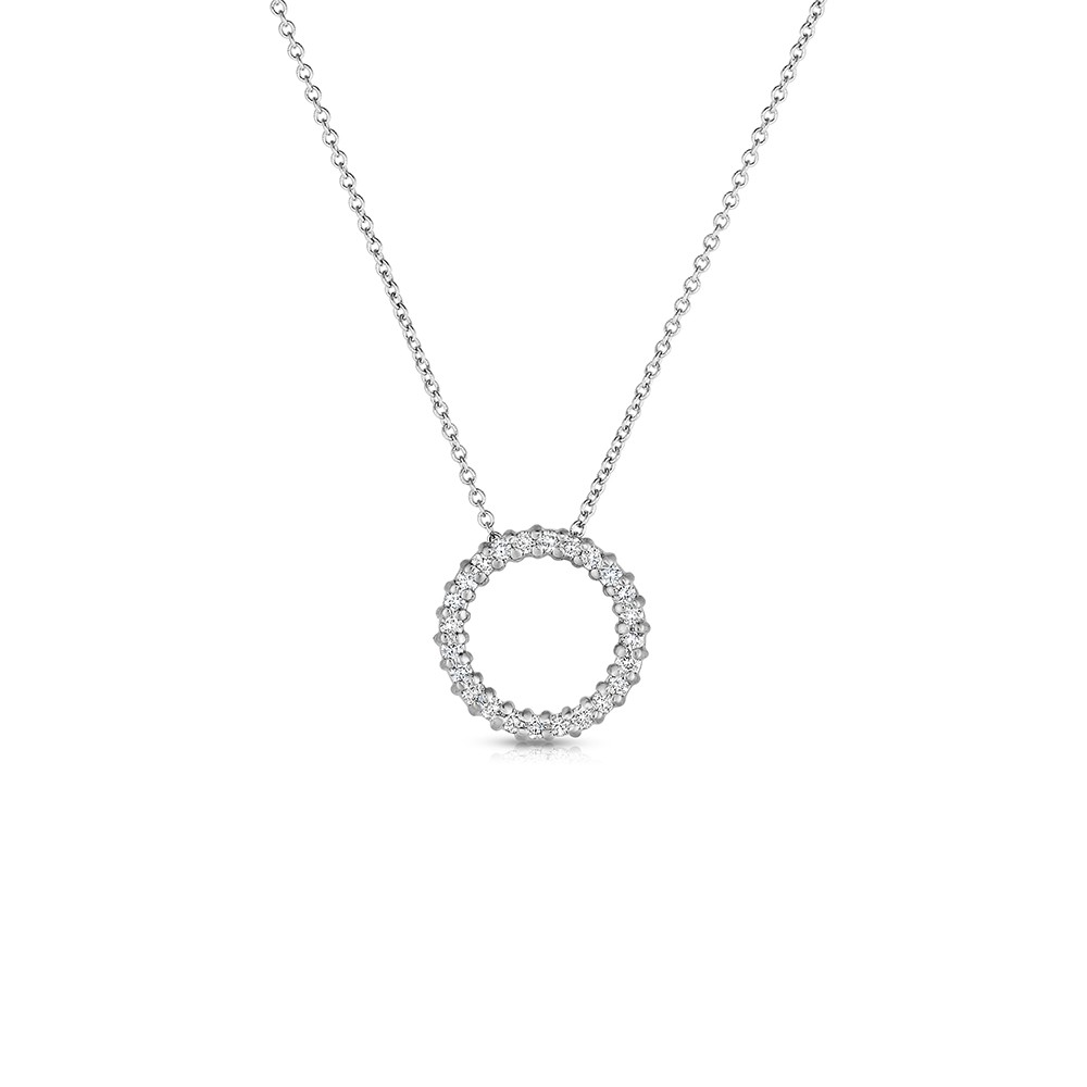 14K White Gold Lab Created Diamond Circle Pendant (0.25ct)