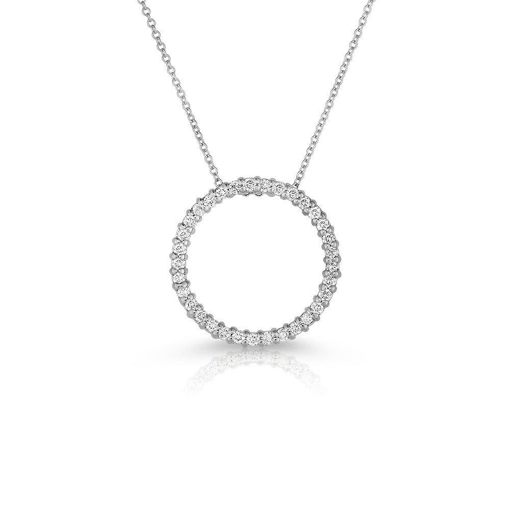 14K White Gold Lab Created Diamond Circle Pendant (0.50ct)