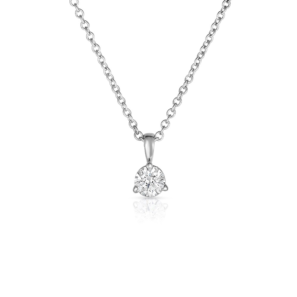 14K White Gold Round Lab Created Diamond Solitaire 3 Prong Pendant (0.15ct)