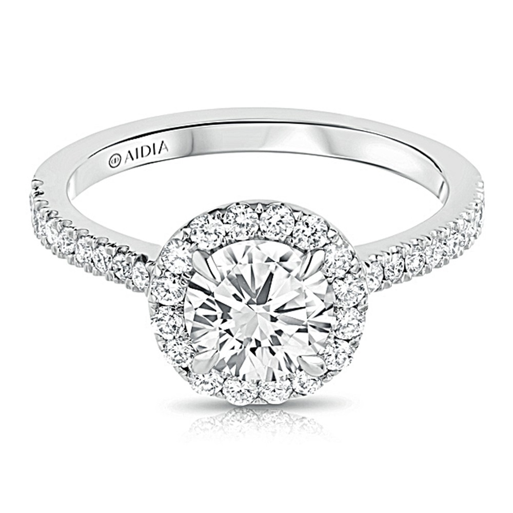 14k White Gold Round Halo Lab Created Diamond Engagement Ring