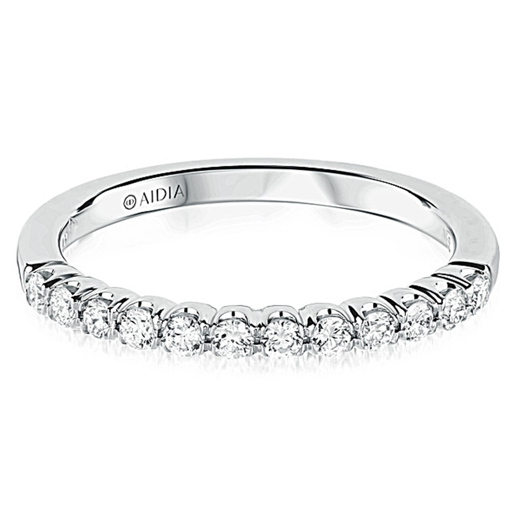 14K White Gold Classic Prong Set Lab Created Diamond Wedding Band (0.30ct)