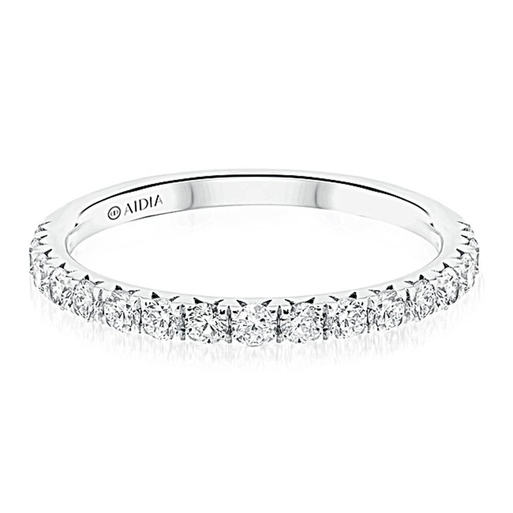 14K White Gold Prong Set Halfway Lab Created Diamond Wedding Band (0.40ct)