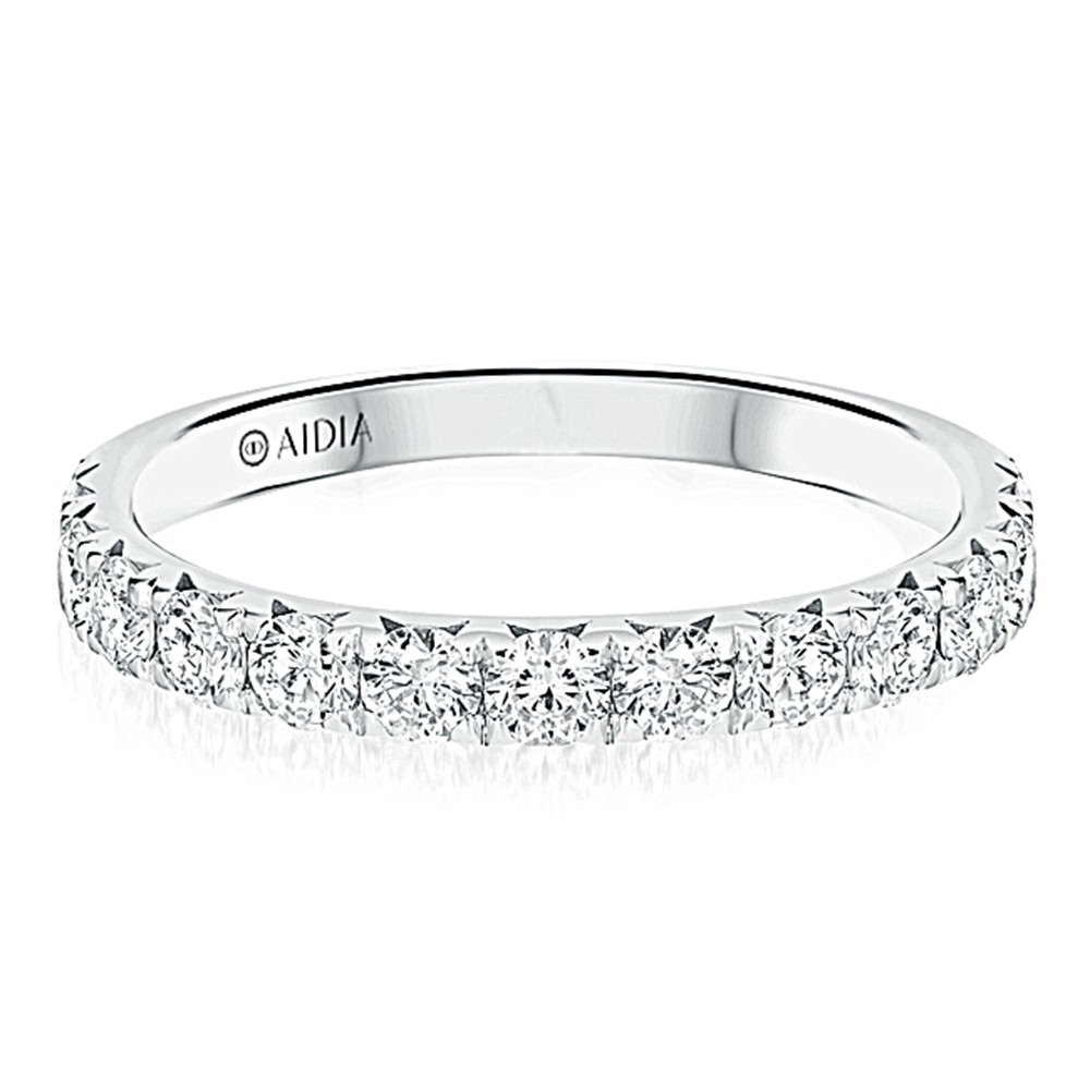 14K White Gold Prong Set Halfway Lab Created Diamond Wedding Band (1.00ct)