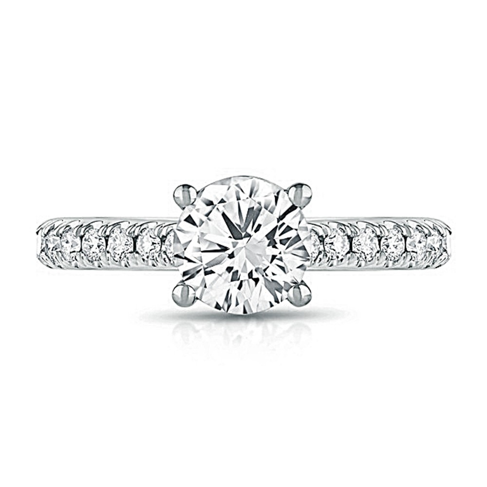 14K White Gold Classic Round Lab Created Diamond Engagement Ring