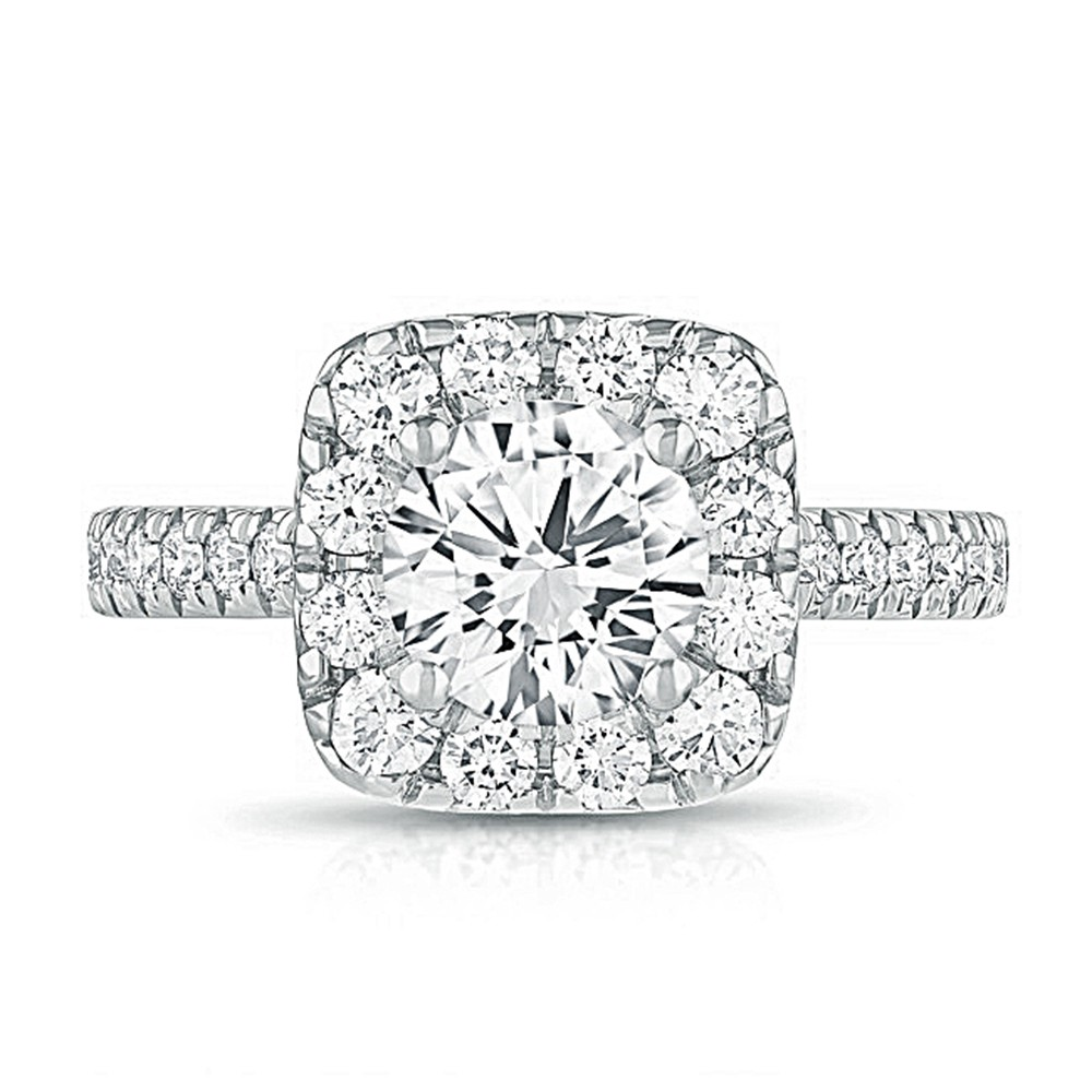14K White Gold Cushion Halo Lab Created Diamond Engagement Ring
