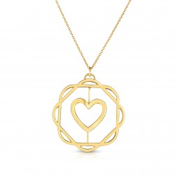 18K Yellow Gold Love Bonds Cut-Out Flora Pendant with on AIDIA Extendable Link Chain