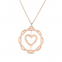 18K Rose Gold Love Bonds Cut-Out Flora Pendant with on AIDIA Extendable Link Chain