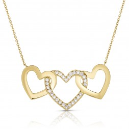 18K Yellow Gold 3 Hearts Love Bonds Pendant with Lab-Grown Diamonds on AIDIA Extendable Link Chain