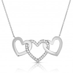 18K White Gold 3 Hearts Love Bonds Necklace with Lab-Grown Diamonds on AIDIA Extendable Link Chain