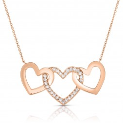 18K Rose Gold 3 Hearts Love Bonds Necklace with Lab-Grown Diamonds on AIDIA Extendable Link Chain