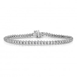 14K White Gold Lab Created Diamond Straight 4-Prong, Low Set Tennis Bracelet (12.80ct)