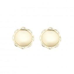 18K Yellow Gold Single Circle Flora Earrings
