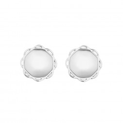 18K White Gold Single Circle Flora Earrings