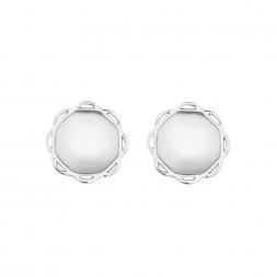 18K White Gold Single Circle Flora Earrings