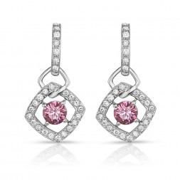 18K White Gold Link Earrings with 2 Fancy Intense Pink (0.72cttw) Lab-Grown Diamond Center Stones