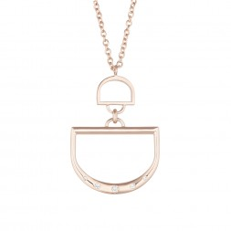 Monogram Double D Charm Holder Pendant with 5 Lab-Grown Diamonds on AIDIA Extendable Link Chain