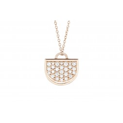 18K Rose Gold Large Monogram Single D Pendant with Lab Created Diamond Pave on AIDIA Extendable Link Chain