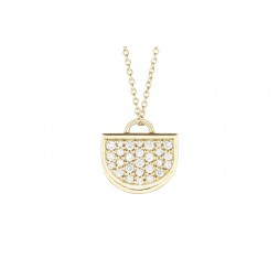 18K Yellow Gold Large Monogram Single D Pendant with Lab Created Diamond Pave on AIDIA Extendable Link Chain
