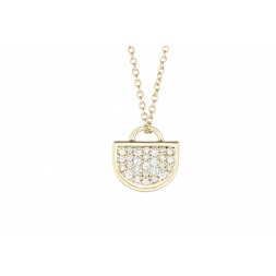 18K Yellow Gold Monogram Single D Pendant with Lab Created Diamond Pave on AIDIA Extendable Link Chain