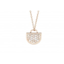18K Rose Gold Monogram Single D Pendant with Lab Created Diamond Pave on AIDIA Extendable Link Chain