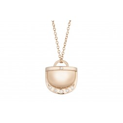 18K Rose Gold Monogram Single D Pendant with 6 Lab Created Diamonds on AIDIA Extendable Link Chain