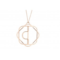 18K Rose Gold Cut-Out Flora Pendant with Mirror D and 3 Lab Created Diamonds on AIDIA Extendable Link Chain