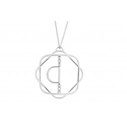18K White Gold Cut-Out Flora Pendant with Mirror D and 3 Lab Created Diamonds on AIDIA Extendable Link Chain
