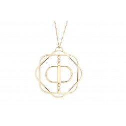 18K Yellow Gold Cut-Out Flora Pendant with Mirror Double D and 4 Lab Created Diamonds on AIDIA Extendable Link Chain